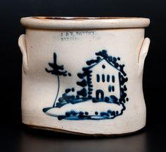 Rare J. & E. NORTON / BENNINGTON, VT Stoneware Crock w/ Cobalt House Decoration -- Lot 71 -- October 17, 2015 Stoneware Auction -- Crocker Farm, Inc.