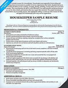 find this pin and more on resume samples housekeeper - Housekeeping Resume Samples