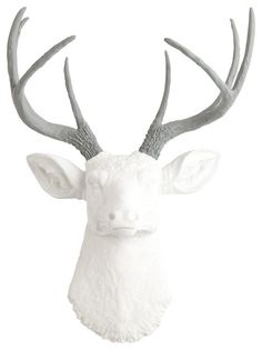White Faux Deer Head W/ Gray Antlers | The Helena Faux Taxidermy Decor