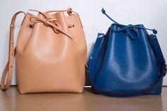 Mansur Gavriel Bucket bag in Cammello next to Louis Vuitton Petit Noe in Toledo blue Epi leather Mansur Gavriel Bucket Bag, Louis Vuitton Petit Noe, My Photos, Handbags, Purses, Leather, Blue, Fashion, Moda