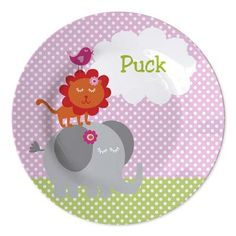 Kid's plate with animals a name, cute personalized present for kids www.studiokidsdesign.co.uk