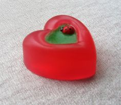 Heart soap red wooden ladybug Bridesmaid favor St Valentines