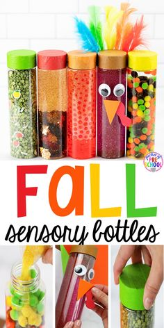 Create fall sensory bottles that will captivate your preschool, pre-k, or toddler students! Sensory bottles are calming, Sensory Bottles Preschool, Glitter Sensory Bottles, Sensory Bags, Sensory Activities, Sensory Play, Preschool Activities, Sensory Bottles For Toddlers, Sensory Rooms, Sensory Table