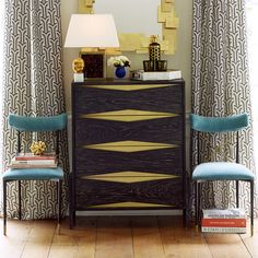 """Berlin 4-Drawer Chest $2,950  W 36"""" X D 16"""" X H 42"""" Drawer dimensions: W 31"""" X D 15"""" X H 8.75"""" Ebonized cerused oak with brass sheet metal overlay Satin lacquer smooth finish Smooth close glides Clearance from bottom of product to floor: 5.25"""" Wipe with soft clean cloth Never use chemical on surfaces"""