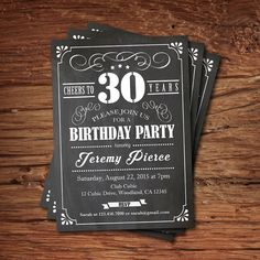 30th Birthday chalkboard invitation. Cheers to 30 year. Retro black and white chalkboard. Any age. Birthday drinks printable invite. AB135