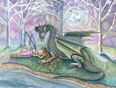 Guardian Fairy and Dragon Watercolor Fine Art by MollyHarrisonArt, via Etsy.