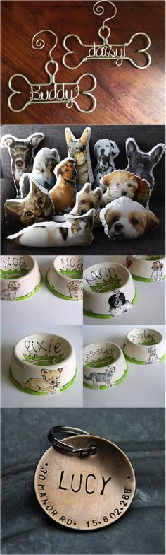 Discover unique, artisanal, and personalized gifts for pets & pet lovers alike, from personalized pet ornaments and dog tags, to custom made pet pillows and hand illustrated dog portrait bowls! | Made on Hatch.co by makers who care. Gifts For Pet Lovers, Dog Gifts, Dog Lovers, Christmas Gifts For Pets, Pet Shop, Dog Jewelry, Animal Pillows, Pet Bowls, Animal Projects