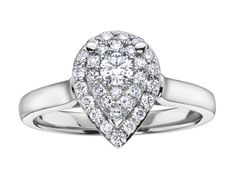 The stunning pear shaped feature ring has a Round Brilliant cut diamond centre and is surrounded by a double halo. Created in white gold, Pear Shaped, White Gold Diamonds, Diamond Rings, Halo, Heart Ring, Centre, Engagement Rings, Jewelry, Enagement Rings