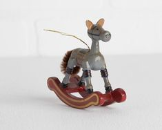 Vintage Simple Wood Rocking Horse Christmas Ornament, Painted Hobby Horse Ornament, Gray Brown Horse