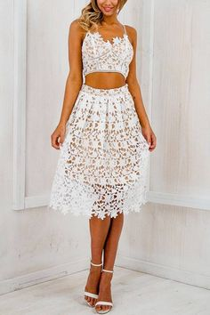 Fully Crochet Lace Strappy Skirt Co-ords -YOINS