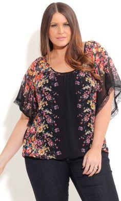 Fashion Bug Womens Plus Size Mirror Floral Top www.fashionbug.us