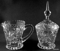 Pinwheel Crystal Creamer Jug & Covered Sugar Bowl Cut Pattern