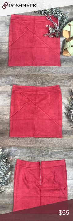 """Suede High Waisted Skirt Alta soft and retro red suede skirt! High waisted, pencil skirt, patchwork! Faux leather. Empire waistline. Measurements: S/length-15.5"""", M/ length-16"""". C-12 Skirts Pencil"""