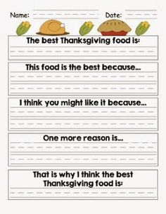 Mrs. First Grade free thanksgiving writing persuasive argument for favorite thanksgiving food Common core alligned! CC