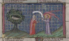 14th century headdress / veil ( manuscript : WLB Cod.bibl.fol.5 Weltchronik, folio 28r, 1383, Germany )