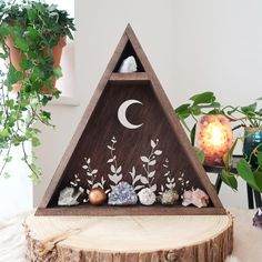 We make crystal shelves in all different shapes and sizes incorporating spiritual symbols and sacred geometry to allow you to create a magical sacred space in your home! Crystal Altar, Crystal Wall, Crystal Shop, Crystal Room Decor, Crystal Shelves, Geometric Shelves, Triangle Shelf, Oak Color, Botanical Flowers