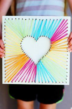 Muttertagsgeschenke basteln DIY Wanddeko Herz