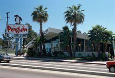 """westside-historic: """" The Penguin coffee shop, on the corner of Lincoln Blvd and Olympic in Santa Monica in the More Googie greatness. Restaurants, San Luis Obispo County, Googie, Beach Town, Vintage Santas, Santa Monica, Dream Vacations, Penguins, Coffee Shop"""