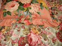 Rare Ralph Lauren Cynthia Coordinate Floral Roses Green Pink King Bed Skirt    #RalphLauren #FrenchCountry