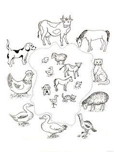 Zvířata a jejich mláďata Farm Activities, Animal Activities, Preschool Themes, Preschool Worksheets, Educational Activities, Farm Animal Coloring Pages, Coloring Pages For Kids, Farm Unit, Animal Worksheets