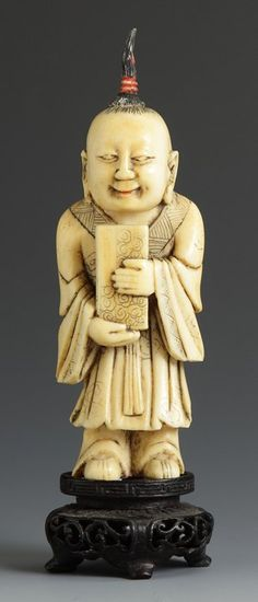 Chinese Carved Ivory Figural Snuff Bottle http://www.liveauctioneers.com/item/16164498_chinese-carved-ivory-figural-snuff-bottle