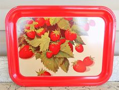 Red Enamel Metal Tray Strawberry Litho Graphics by ShellyisVintage