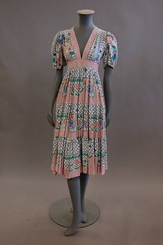 An Ossie Clark/Celia Birtwell for Radley printed cotton summer dress, mid 1970s