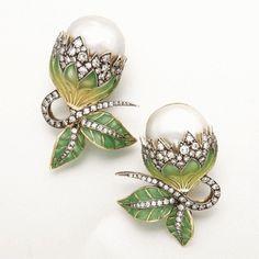 Pearl, diamond & enamel earrings.