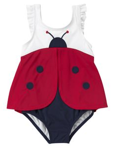 Little ladybug! Darling swim style with ruffles and appliqués.