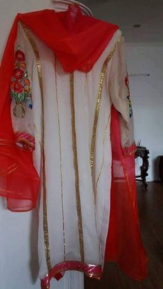 Beauteous White And Red Colored Designer Embroidered Suit In Pure Creap With Dupatta