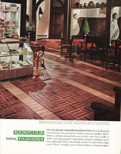 "1965 KENTILE FLOORS vintage magazine advertisement ""Colonial Brick"" ~ New from Kentile! Colonial Brick Solid Vinyl Tile that looks like brick, feels like brick -- but costs far less. ... Restaurant pastry shop features floor in new Kentile Colonial Brick Solid Vinyl ... Color shown: Georgetown Red and Williamsburg Pink. Also available in Woodstock White. ~ Size: The dimensions of the full-page advertisement are approximately 10.5 inches x 13.5 inches (26.75 cm x 34.25 cm). Condition: ..."
