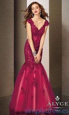 Look chic in this festive formal gown with all over lace appliqué and subtle beaded details. This dress features a stunning portrait neckline with cap sleeves, illusion corset waist, and a voluminous mermaid skirt bottom. Mermaid Evening Gown, Formal Evening Dresses, Formal Gowns, Evening Gowns, Dress Formal, Dressy Dresses, Pink Dresses, Lace Dresses, Prom Dresses 2015