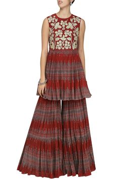 a6443286b5 Bhumika Sharma Featuring a red printed kurta in crepe base with tilla and  zari embrodiery. It is paired with matching gharara pants and dupatta in  net base.