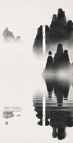 Water Ripple, Beautiful Art Black and White Landscape fairyland scenery - Black And White Landscape, Black And White Drawing, L Wallpaper, Visual Communication Design, Water Ripples, China Art, Ink Illustrations, Chinese Painting, Ink Painting
