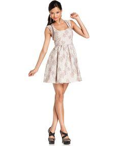 Bar III Front Row Dress, Sleeveless Square Neck Cutout Floral Brocade A-Line - Womens Dresses - Macy's