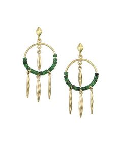 Another great find on #zulily! Green & Gold Beaded Drop Hoop Earrings by The Sak #zulilyfinds