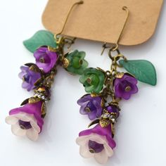 Wild Orchid Flower Lucite Floral Garden Violet Purple Bell Green Leaf Earrings #Handmade #DropDangle