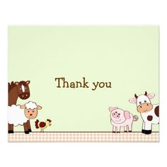 Shop Farm Babies Farm Animal Thank You Note Cards created by little_prints. Thank You Note Cards, Custom Thank You Cards, Custom Cards, Baby Farm Animals, I Want A Baby, Baby Shower Invitations, Invites, Cool Themes, Just For You