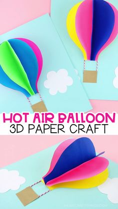 Paper Hot Air Balloon Craft -Easy, colorful summer kids craft! Use our free template to create this gorgeous paper hot air balloon craft. Fun 3D paper craft and summer craft for preschoolers and kids of all ages. #iheartcraftythings