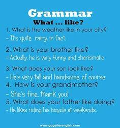 English [What... like?]