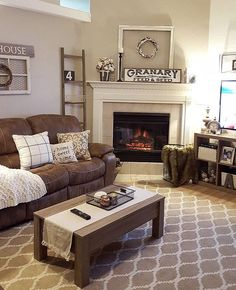 Nice way to fit brown recliner into decor. Love the rug. Would need to inject a bit of navy