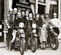 Vintage Steel Cowgirls - Indian Motorcycle - Vintage Photo