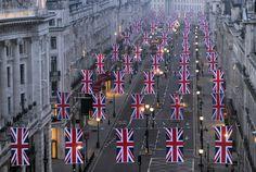 union jacks in london for royal wedding