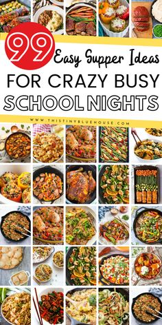 here are 99 delicious, easy and family friendly meal ideas that are perfect for busy school night. Whether you're using an Instant Pot, Slow Cooker, Skillet or Sheet Pan this massive collection of quick dinner ideas are sure to be a hit! Frugal Meals, Budget Meals, Quick Easy Meals, Easy Dinner Recipes, Cheap Meals On A Budget Families, Quick Meals For Dinner, Budget Planner, Quick Recipes, Easy Family Dinners