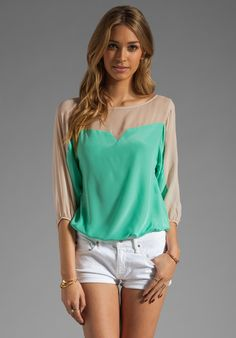 AKIKO Combo Top in Mint/Taupe at Revolve Clothing