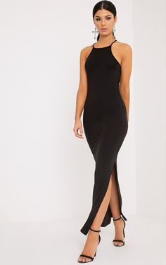 Black Square Neck Maxi Dress Featuring figure skimming shape, daring thigh split and ultra-soft ...