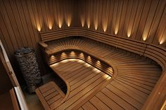 Of all the facilities you can use in a spa, the most popular one has to be a sauna. Saunas, Diy Sauna, Sauna Ideas, Sauna Steam Room, Sauna Room, Spa Interior, Interior Design, Interior Garden, Sauna Lights