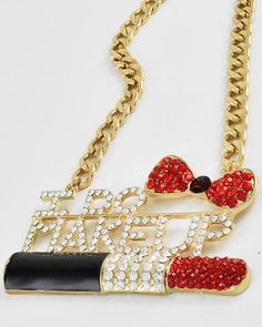 Gold Tone / Black Epoxy / Clear & Red Rhinestone / Lead Compliant / Chain Metal / Bow Tie, Lipstick with 'I Do Makeup' Pendant / Necklace