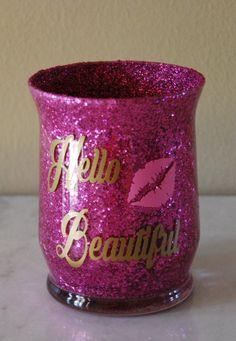 Make up brush vase, Cosmetic Brush Holder, Make up brush holder, Pencil holder, Make up brush organizer, Glitter Makeup brush holder by PamelaAnneCreations on Etsy