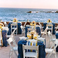 Intimate Blue and Yellow Seaside Decor  - You'll make waves with these beautiful, beach-inspired ideas  - Wedding Style